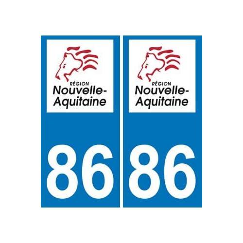 2 Autocollants Plaque Immatriculation Auto Département 86 Vienne Région Nouvelle Aquitaine Nouveau Logo