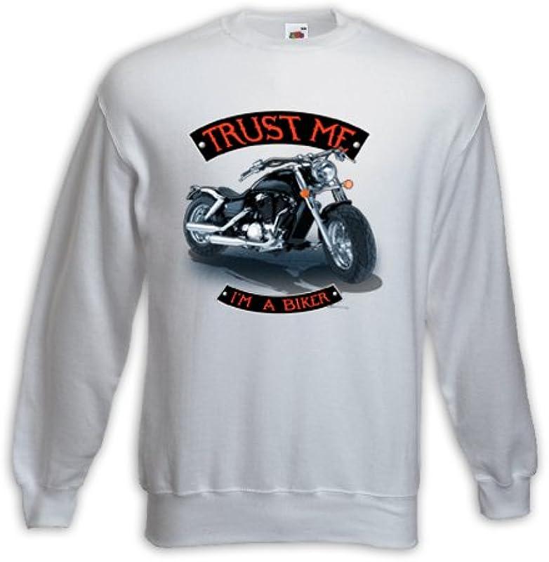 Biker swetry Trust ME Biały Motorcycle Bike Racing USA Skull Pinup: Odzież