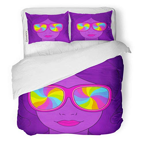 MIGAGA Decor Duvet Cover Set King Size Psychedelic Portrait of Pretty Girl in Sunglasses Rainbow Swirls 3 Piece Brushed Microfiber Fabric Print Bedding Set Cover ()