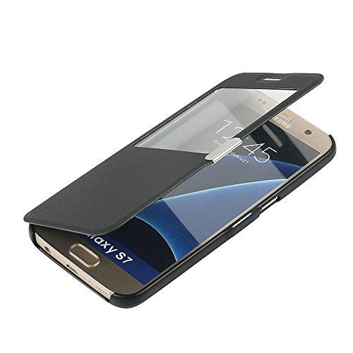 S7 Case, Galaxy S7 Case, MTRONX Window View Magnetic Closure Twill PU Leather Ultra Folio Flip Slim Case Cover for Samsung Galaxy S7 - Black(MG1-BK)