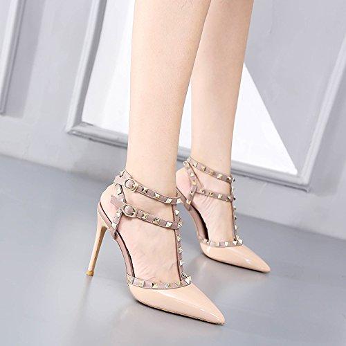 remaches de Zapatos Zapatos Zapatos tacón tacón Sandalias de alto de Nude VIVIOO Correas de de color de color alto Punta nude mujer tacón charol 10CM tacón de alto Sandalias de alto 5qvcwBP