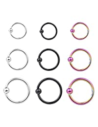 DS 9pcs 1DS 6G Stainless Steel Lip\Nose\Nipple\Eyebrown Captive Hoop Ring Barbell Tragus Cartilage Stud Earrings 3 Size 3mm Ball\Spike