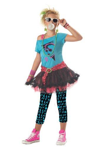 80s Pop Star Costume (80's Valley Girl Child Costume, Blue, Medium (8-10))