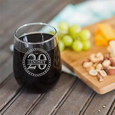 Copa de vino sin tallo, diseño de círculo de 15 onzas con nombre y número, copa de vino transparente para vino tinto y blanco
