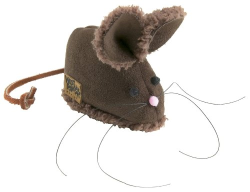 West Paw Design Barn Mouse Faux-Suede Catnip-Filled Cat Toy with Bell, Espresso, My Pet Supplies