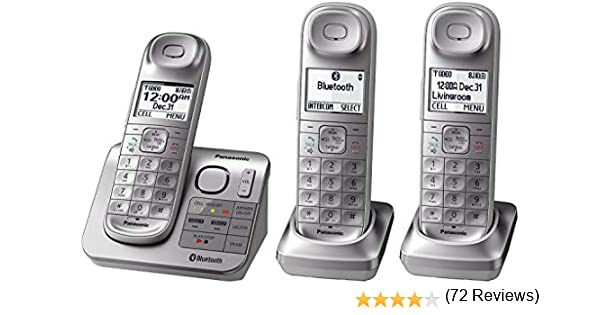 Panasonic kx-tgl463s DECT 6.0 link2cell Bluetooth 3-handset teléfono fijo, Plata y Blanco (Certificado Reformado): Amazon.es: Electrónica