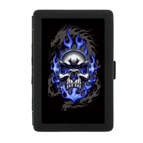 Black Color Metal Cigarette Case Holder Box Skull Design-015