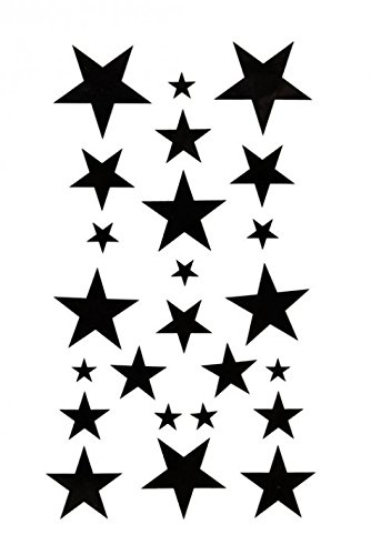 GRASHINE Body painting fake and realistic temporary tattoos waterproof temporary tattoo black star]()