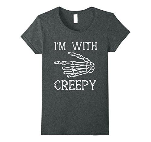 Womens Halloween Skeleton Im With Creepy Shirt Medium Dark (Creepiest Halloween Movies)
