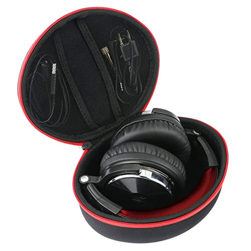 Khanka Hard Travel Case Replacement for OneOdio Adapter-Free Closed Back Over-Ear DJ Stereo Monitor Headphones (red Zipper) ()