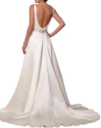 Victory Bridal 2016 Neu Hochwertig Satin V-ausschnitt Hochzeitskleider brautkleider Brautmode Lang A-linie mit Schleppe