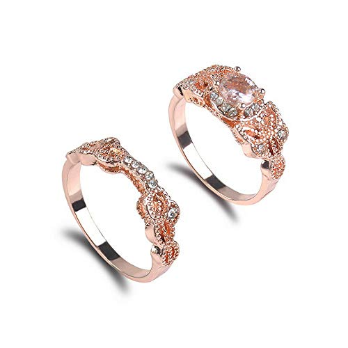 Crookston 2Pcs Ring/Set Rose Gold Fil White Topaz Wedding Engagement Size 6-10 | Model RNG - 2913 | 10