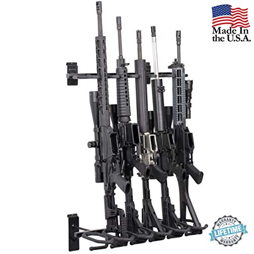 Hold Up Displays -Slatwall 6 Gun Rack and Rifle Storage Holds Winchester Remington Ruger Firearms and More - Heavy Duty Steel - Made in USA