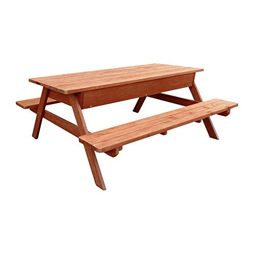 Finish Picnic Table - Leisure Season Outdoor Picnic Table with Table Lid Storage Compartment, Cypress Wood Brown