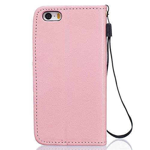 sibaina Étui pour téléphone portable Samsung Galaxy, étui à rabat en cuir PU pour Samsung Galaxy S6S6Edge Plus S7Plus, Cuir synthétique Cuir, rose, For Iphone5 5s Se