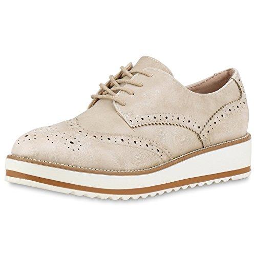 Japado - Zapatos de vestir brogues Mujer Creme Weiss