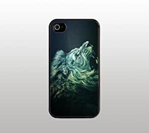 Abstract Lion Hard Snap-On Case for iPhone 4 4s - Black - Cool Custom Cover - Unique Design