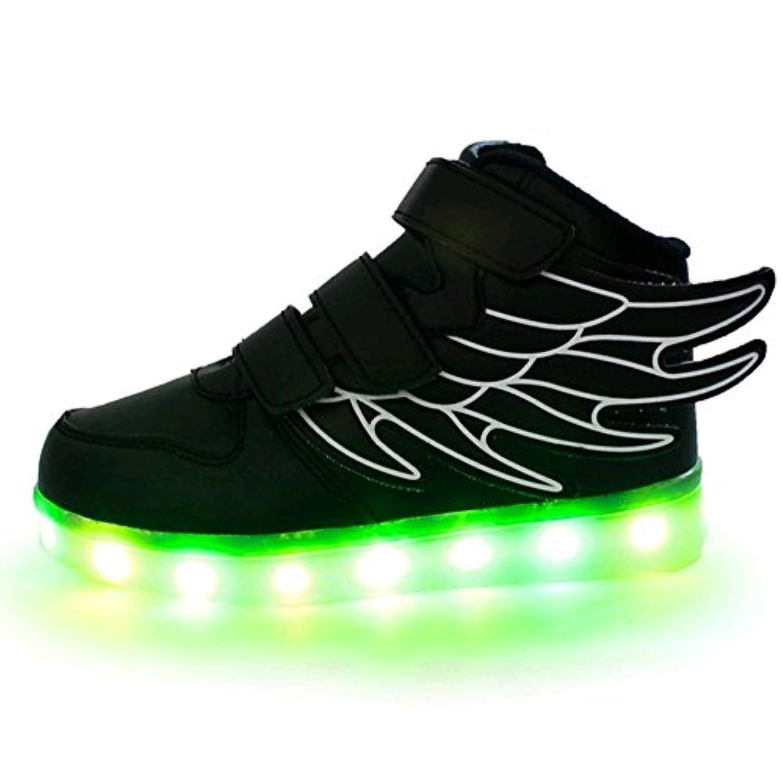 LASYMIE Kid Boy Girl Upgraded USB Charging LED Light Sport Shoes Flashing Sneakers (2.5 Child UK, Black)