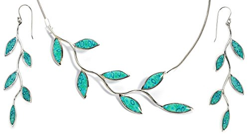 925 Sterling Silver Olive Leaf Jewelry Set Handmade Sea Green Necklace and Long Drop Earrings, 16.5'' by Adina Plastelina Handmade Jewelry