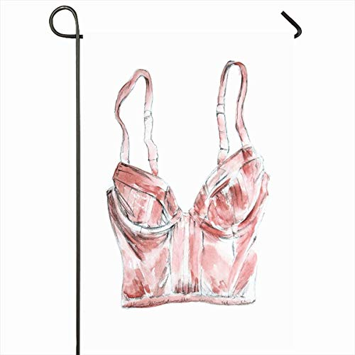 Ahawoso Garden Flag 12x18 Inches Pink Sketch Nude Pastel Beige Lingerie Bra Drawing Watercolor Sexy Brassiere Breast Color Design Outdoor Decorative Seasonal Double Sided Home House Yard Sign ()