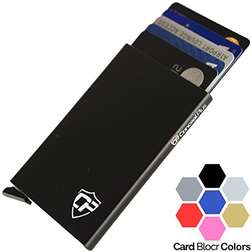 Card Blocr Best Minimalist Wallet | RFID Blocking Aluminum Credit Card Holder for Identity Theft Protection | Front Pocket Wallet Design Fits 4-6 Bank Cards | Slim Wallet Credit Card Case in 7 Colors