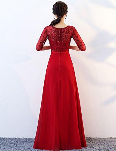 Rot Hochzeit Elegant Chiffon mit LuckyShe für Abendkleider Ärmeln Lang Damen qgzwxYwS