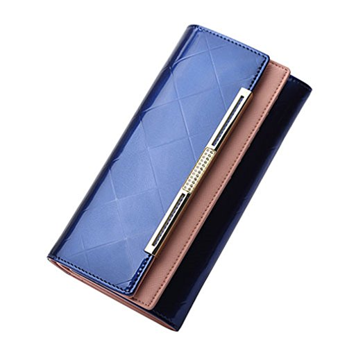 Yosohbag Women Luxury Design Ladies Party Clutch Patent Leather Purses Long Card Holder (Replica Louis Vuitton Purse)