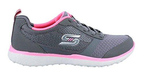 Skechers Mujeres Microburst Bungee Lace Sneaker, Rosa de carb�n / ne�n