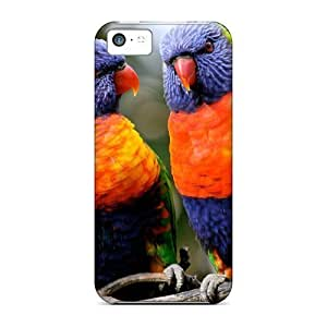 MMZ DIY teléfono CASEPremium Little Lorakeet Friends Back Cover Funda de fijación para iPhone 5/5S