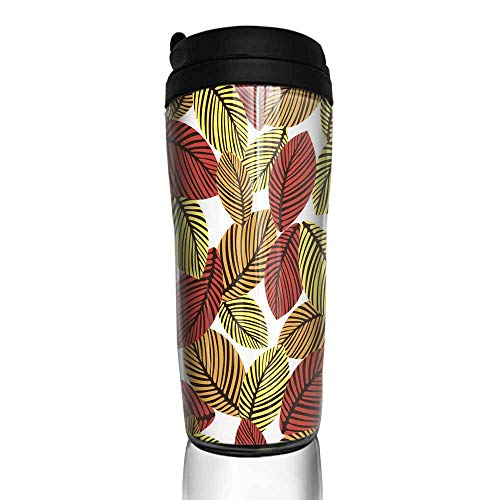 coffee cups for mom Abstract autumn leaves seamless pattern vector background Hand-drawn leaves on a white background For fabric design wallpaper wrappers 12 oz,glue for coffee cup repair