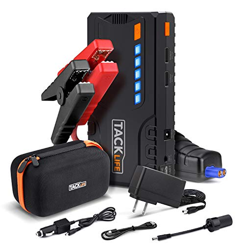 TACKLIFE T6 Car Jump Starter - 600A Peak 12V Auto Battery Jumper (up to 6.2l gas, 5.0l diesel), 16500mAh Battery Booster with Quick-charge 3.0, Portable Power Pack for Cars, Truck, - 12v Auto Car