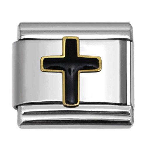 - Black Cross Italian Charm Stainless Steel Bracelet Link