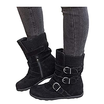 Women's Winter Snow Boots Zipper Buckles Strap Warm Ankle Mid Flat Boot