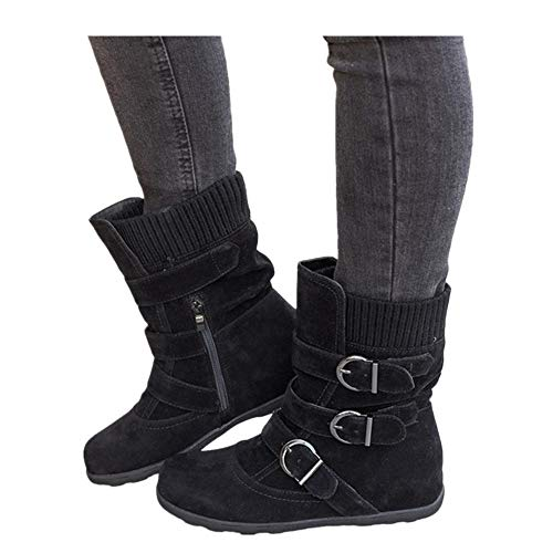 Women's Winter Snow Boots Zipper Buckles Strap Warm Ankle Mid Flat Boot (Black, US:7.5) -