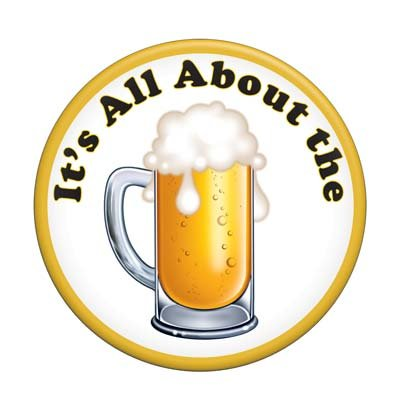 Beistle 60140 It's All About The Beer Button, 31/2-Inch