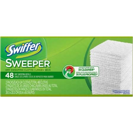 Swiffer Dry Sweeping Sweeper Cloths Refills, 48 Ct Swiffer Dry Cloths Are Great for Wood, Tile or Vinyl Floors