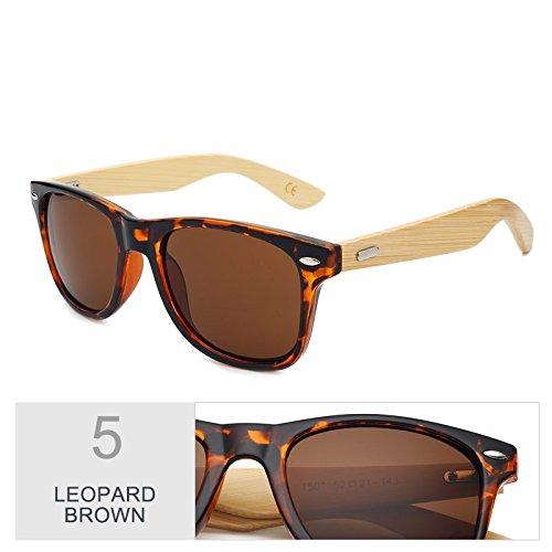 Leopard de de mujer espejo Gafas gafas real de el sol Sunglasses por color hombre marrón TL Brown sol de de Multi bambú madera nC1qwp6