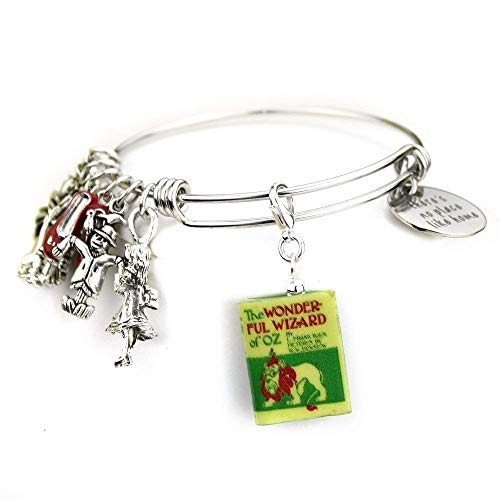 Wizard Of Wedding Oz - The Wonderful WIZARD OF OZ L. Frank Baum Clay Mini Book Expandable Stainless Steel Bangle Bracelet