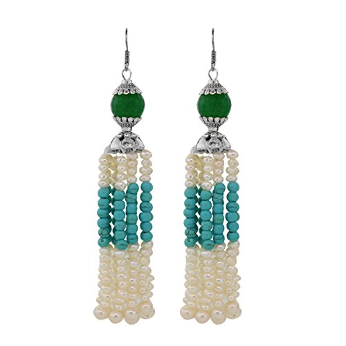 Gem Stone King Sterling Silver Stunning Simulated Turquoise & Cultured Freshwater Pearl Earrings 4inches ()