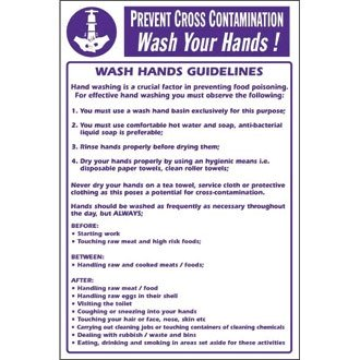 dbed535748a Prevent Cross Contamination Wash Hands! Poster Sign Notice - make everyone  aware of risks and procedures  Amazon.co.uk  Kitchen   Home