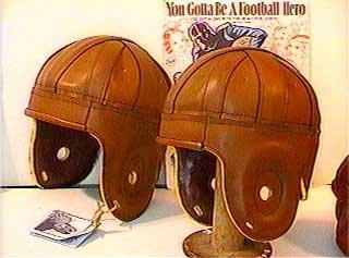 Brown Imitation Leather Football Helmet (1920s-1940s) ()
