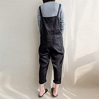 Aedvoouer Women's Baggy Plus Size Overalls Cotton Linen Jumpsuits Wide Leg Harem Pants Casual Rompers: Clothing
