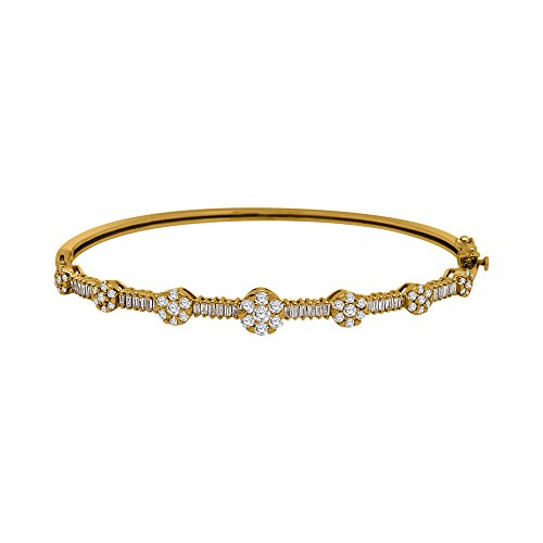 IGI-Certified 10K Gold Round & Baguette Shape Diamond Flower Style Bangle Bracelet (1.50 Ct) (yellow-gold)