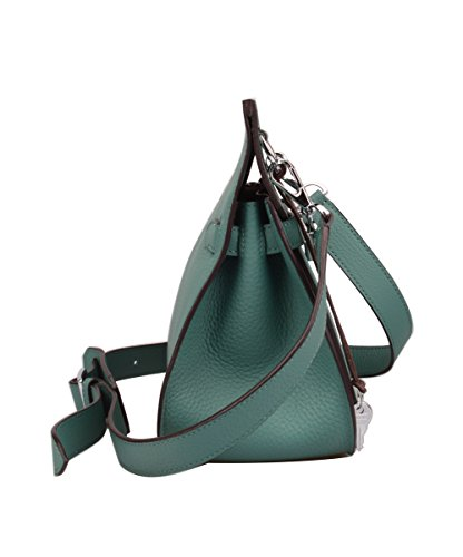 Leather Sea Green Women's Messenger Bag With Silver Genuine Hardware Ainifeel Padlock Satchel vtxTSFqTgw