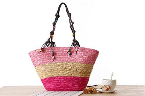 de KHUSIG Bag Sacs Sacs Poignée Perles Sea rotin d'été Tricotés Main Handmade 100 Sacs Supérieure Red Star de Plage Paille Tote à de PPrq1A