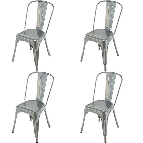 KCHEX>>>Set of 4 Tolix Style Dining Side Chair Stackable Bistro Cafe Metal Stool Vintage>This Set of Chairs Could give You Very deep Impression with its. It adds a Classic Touch to Your
