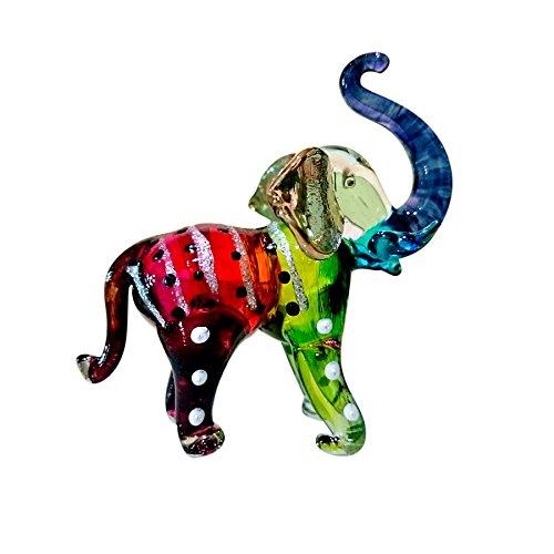 Sansukjai Elephant Figurines Animals Hand Painted Rainbow Hand Blown Glass Art Gold Trim Collectible Gift Decorate