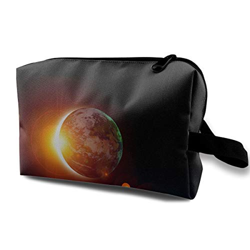 With Wristlet Cosmetic Bags Solar Eclipse Sun Travel Portable Makeup Bag Zipper Wallet Hangbag]()