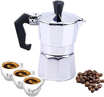 Cafetera italiana, goodchanceuk 1/3 taza 50 ml/150 ml de aluminio ...