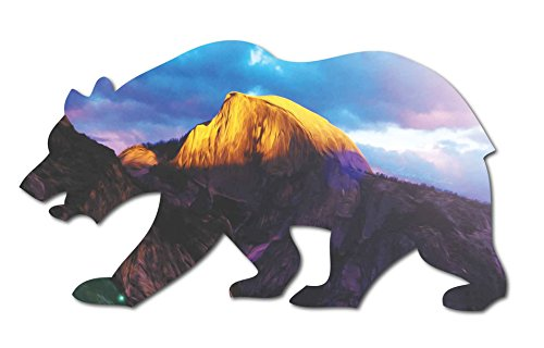 Sun Climber (Half Dome Yosemite Valley Watercolor Sunset Cali Bear _ Vinyl STICKER for laptop journal or wall)